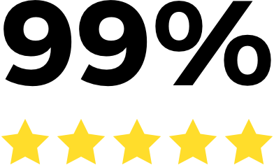 five stars symbol, 99% rating